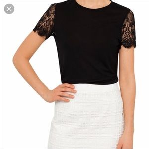 Ted Baker Somsri black shirt with lace sleeves L